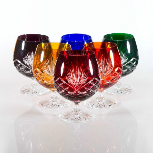 Timeless 24% Lead Crystal Multicoloured Brandy Glasses, Set of 6