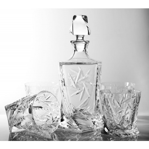 Set of Crystal Quadro Decanter and 4 Whisky Glasses, Cardinal Collection