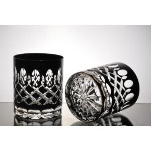 Bastille 24% Lead Crystal Black Whisky Glasses, Set of 6