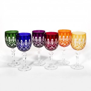 Bastille Multicoloured Crystal Wine Glasses, Set of 6
