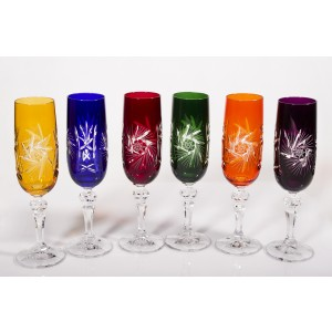 Cardinal Multicoloured Crystal Champagne Glasses, Set of 6