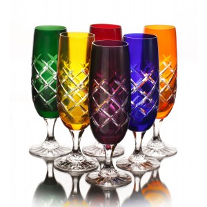 Checquers Multicoloured 24% Lead Crystal Champagne Glasses, Set of 6