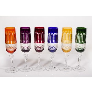 Emperor Multicoloured Crystal Champagne Glasses, Set of 6