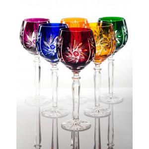 Cardinal 24% Lead Crystal Multicoloured Tall Wine Glasses, Set of 6