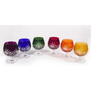 Timeless Multicoloured Crystal Brandy Glasses, Set of 6