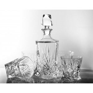 Set of Crystal Quadro Decanter and 4 Whisky Glasses, Timeless Collection