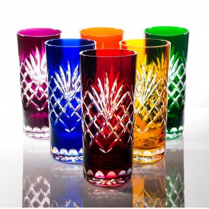 Timeless 24% Lead Crystal Multicoloured Highball Glasses, Set of 6