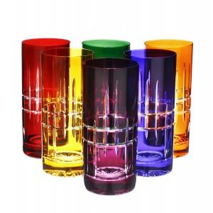 Polaris 24% Lead Crystal Multicoloured Highball Glasses, Set of 6