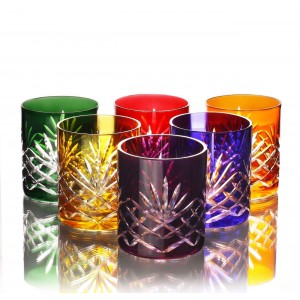 Timeless 24% Lead Crystal Multicoloured Thick Rimm Whisky Glasses, Set of 6