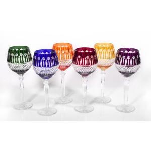 Emperor 24% Lead Crystal Multicoloured Wine Glasses, Set of 6