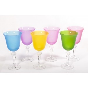 Rainbow Mluticoloured Crystal Wine Goblets, Set of 6