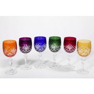 Timeless Multicoloured Crystal Wine Glasses, Set of 6
